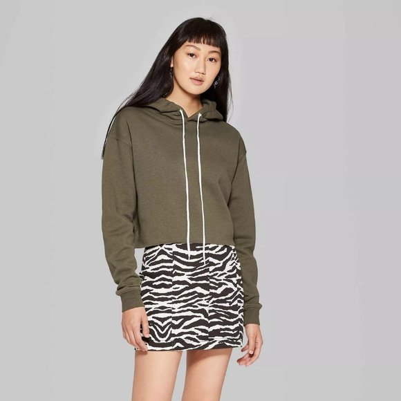WOMEN'S CROPPED HOODIE - WILD FABLE OLIVE L NEW